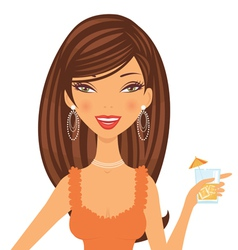 Beautiful cocktail girl vector image