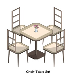 Isometric chair table set vector
