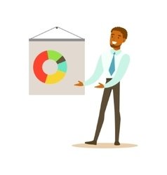 Manager doing presentation business office vector