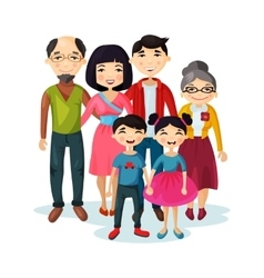 Adult family with happy kids or children vector