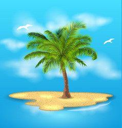 Tropical island with palm tree outdoor vacation vector