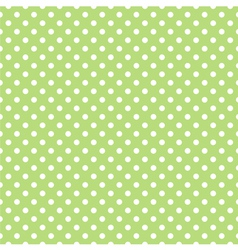 Spring pattern white polka dots green background vector image