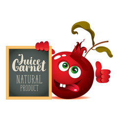 Banner for fresh juice with funny pomegranate vector
