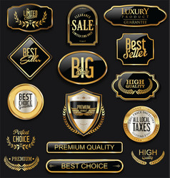 Set of black and gold labels collection vector