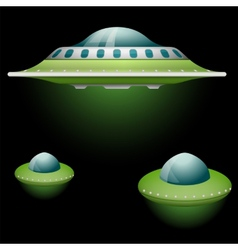 Set of cartoon flying saucers vector
