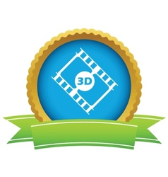 Gold 3d film logo vector