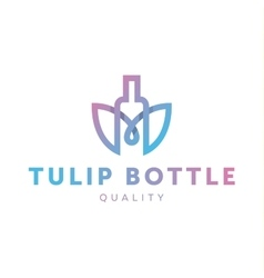 Logo combine tulip flower with bottle style in vector
