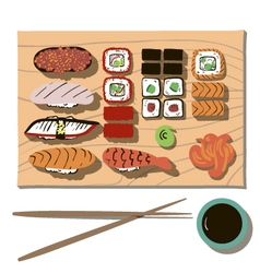 Flat sushi set with transparent background vector