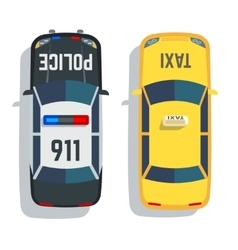 Police and taxi cars top view set vector image