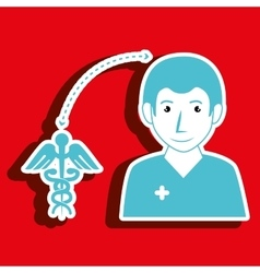 Nurse man and symbol of medical isolated icon vector
