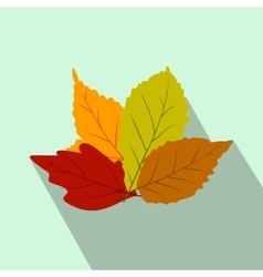 Autumn leaves flat icon with shadow vector image