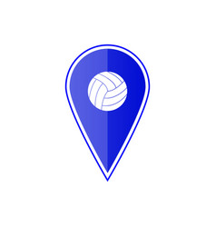 Blue map pointer with volleyball ball vector