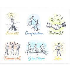 business-themed sketches of profitable cooperation vector image vector image