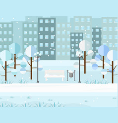 city park view winter seasons background vector image vector image