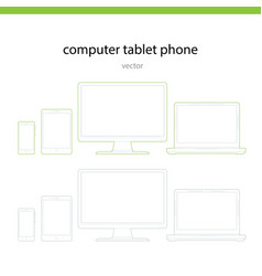 Computer phone tablet line vector