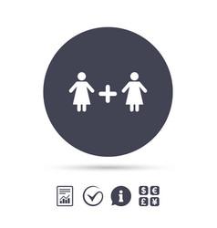 Couple sign icon woman plus woman lesbians vector