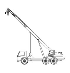 Crane truck construction heavy machinery icon vector
