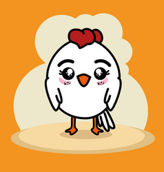 Cute little chicken cartoon vector