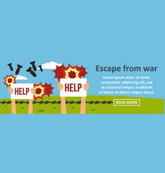 Escape from war banner horizontal concept vector