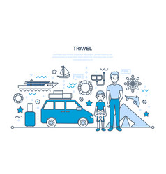 father and son traveling on vacation relaxing vector image