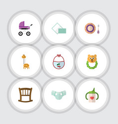 Flat icon child set of toy rattle nappy and vector