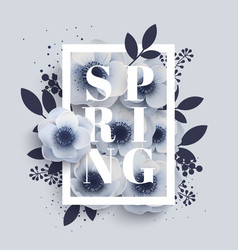 Flower arrangement with the word spring vector