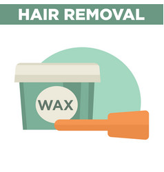 Hair removal commercial with big container of wax vector