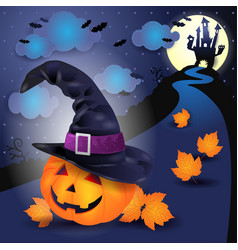 halloween night with big pumpkin and witchs hat vector image vector image