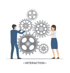 interaction people and gears vector image