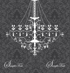 invitation card with luxury chandelier on floral b vector image vector image