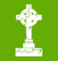 irish celtic cross icon green vector image