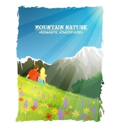 Mountain landscape nature romantic background vector