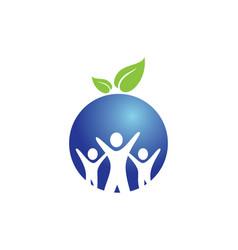 People group round vegan logo vector