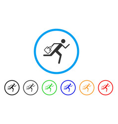 Shopping running man rounded icon vector