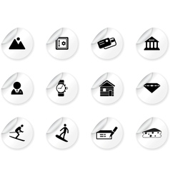 Stickers with Switzerland symbols vector image vector image