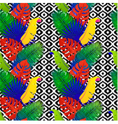 tropical seamless pattern with exotic vivid leaves vector image