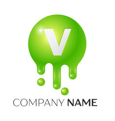 v letter splash green dots and bubbles letter vector image vector image