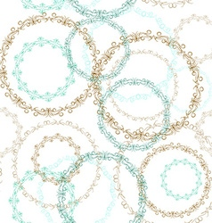 Vintage seamless patern blue brown circle on white vector image vector image