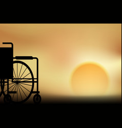 wheelchair sunset vector image