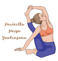 Women silhouette compass yoga pose parivrtta vector