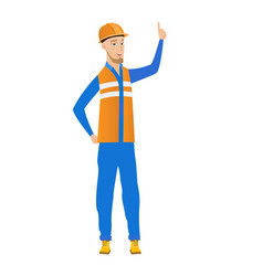 Young caucasian builder pointing forefinger up vector