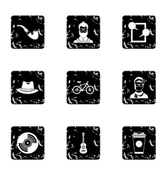 Subculture hipsters icons set grunge style vector