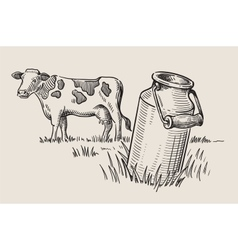 Milk cans with grass vector image