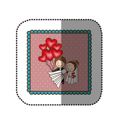 symbol married couple with red heart bombs vector image