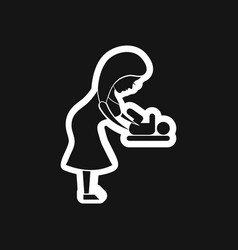 Stylish black white icon mother and child vector