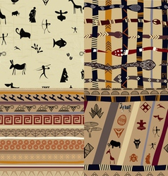 A set of patterns primitive tribal painting vector