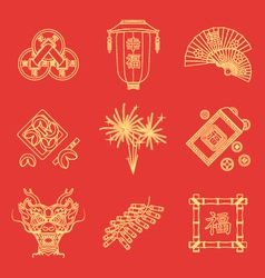 Yellow gold outline on red chinese new year icons vector