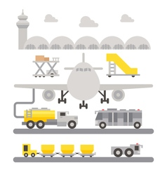 Airport ground support machineries flat design vector