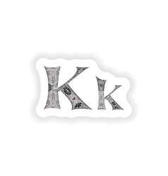 Sticker low poly letter k in gray mosaic polygon vector