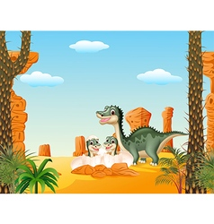 Happy mother dinosaur with baby hatching vector